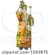 Clipart Of A Bishop Holding Up A Cross Royalty Free Vector Illustration