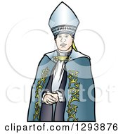 Clipart Of A Bishop In A Blue Robe Royalty Free Vector Illustration
