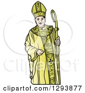 Clipart Of A Bishop In Gold Royalty Free Vector Illustration