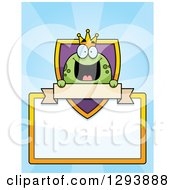 Clipart Of A Badge Or Label Of A Happy Frog Prince Over A Shield Blank Sign And Banner Over Blue Rays Royalty Free Vector Illustration