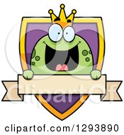 Clipart Of A Badge Or Label Of A Happy Frog Prince Over A Shield And Blank Banner Royalty Free Vector Illustration