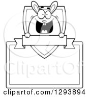 Badge Or Label Of A Black And White Happy Bunny Rabbit Over A Shield And Blank Banner And Sign