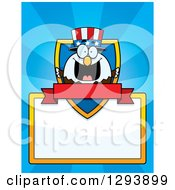 Badge Or Label Of A Patriotic American Blad Eagle Shield Blank Sign And Banner Over Blue Rays