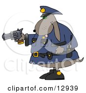 Proud Police Officer Dog Holding A Pistil Clipart Illustration