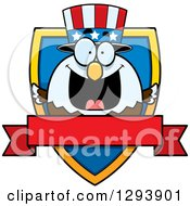 Clipart Of A Badge Or Label Of A Patriotic American Blad Eagle Shield And Blank Banner Royalty Free Vector Illustration