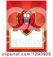 Badge Or Label Of A Happy Devil With A Shield Blank Sign And Banner Over Red Rays