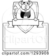 Badge Or Label Of A Black And White Happy Devil With A Shield Blank Sign And Banner