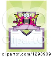 Clipart Of A Badge Or Label Of A Happy Dragon With A Shield Banner And Blank Sign Over Green Rays Royalty Free Vector Illustration