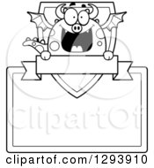 Clipart Of A Badge Or Label Of A Black And White Happy Dragon With A Shield Banner And Blank Sign Royalty Free Vector Illustration