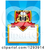 Badge Or Label Of A Happy Dog With A Shield Banner And Blank Sign Over Blue Rays