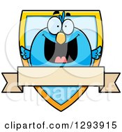 Clipart Of A Badge Or Label Of A Happy Blue Bird Over A Shield And Blank Banner Royalty Free Vector Illustration by Cory Thoman