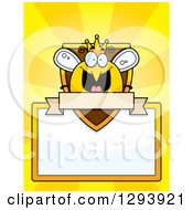 Clipart Of A Badge Or Label Of A Happy Queen Or King Bee Over A Shield Sign And Blank Banner Over Yellow Rays Royalty Free Vector Illustration
