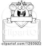 Clipart Of A Badge Or Label Of A Black And White Happy Queen Or King Bee Over A Shield Sign And Blank Banner Royalty Free Vector Illustration