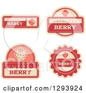 Clipart Of A Set Of Strawberry Fruit Flavor Labels Royalty Free Vector Illustration