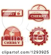 Clipart Of A Set Of Cherry Fruit Flavor Labels Royalty Free Vector Illustration