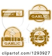 Clipart Of A Set Of Garlic Flavor Labels Royalty Free Vector Illustration