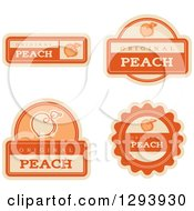 Clipart Of A Set Of Peach Fruit Flavor Labels Royalty Free Vector Illustration