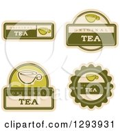 Clipart Of A Set Of Green Tea Labels Royalty Free Vector Illustration