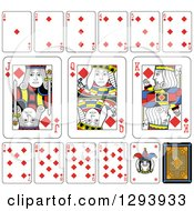 Layout Of A Diamonds Playing Card Suit