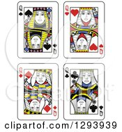 Clipart Of Queen Playing Cards Royalty Free Vector Illustration