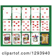 Layout Of A Hearts Playing Card Suit On Green