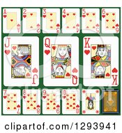 Clipart Of A Layout Of A Hearts Playing Card Suit On Green 2 Royalty Free Vector Illustration