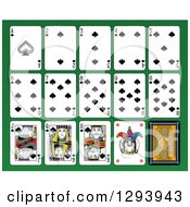 Layout Of A Spades Playing Card Suit On Green