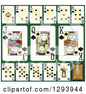 Clipart Of A Layout Of A Spades Playing Card Suit On Green 2 Royalty Free Vector Illustration