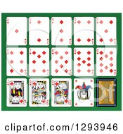 Layout Of A Diamonds Playing Card Suit On Green