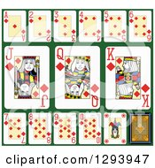 Clipart Of A Layout Of A Diamonds Playing Card Suit On Green 2 Royalty Free Vector Illustration