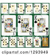 Clipart Of A Layout Of A Clubs Playing Card Suit On Green 2 Royalty Free Vector Illustration