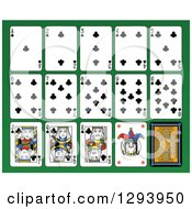 Clipart Of A Layout Of A Clubs Playing Card Suit On Green Royalty Free Vector Illustration