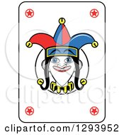 Clipart Of A Grinning Joker Face Playing Card Royalty Free Vector Illustration