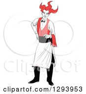 Clipart Of A Playing Card Suit Character Of A Jolly Joker Waiter Royalty Free Vector Illustration by Frisko
