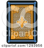 Clipart Of A Yellow Black And Blue Back Side Of A Playing Card Design Royalty Free Vector Illustration