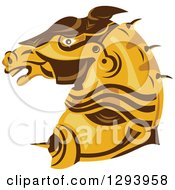 Clipart Of A Retro Armored Horse Head In Profile Royalty Free Vector Illustration by patrimonio