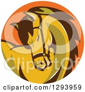 Clipart Of A Retro Horse Curling Its Neck In An Orange Circle Royalty Free Vector Illustration