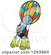 Clipart Of A Cartoon White Male Aviator Cutting Bags From A Hot Air Balloon Royalty Free Vector Illustration