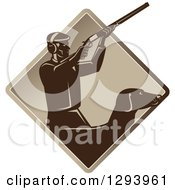 Clipart Of A Retro Male Hunter Shooting A Rifle And His Retriever Dog Emerging From A Brown Diamond Royalty Free Vector Illustration