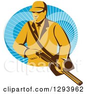 Clipart Of A Retro Yellow Male Hunter Holding A Rifle And Emerging From An Oval Of Blue Rays Royalty Free Vector Illustration
