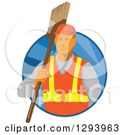 Clipart Of A Retro White Male Janitor Holding A Broom Over His Shoulder In A Blue Circle Of Rays Royalty Free Vector Illustration