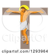 Clipart Of Jesus Christ On A Crucifix Royalty Free Vector Illustration