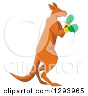 Clipart Of A Retro Kangaroo In Boxing Gloves With A Blue Outline Royalty Free Vector Illustration