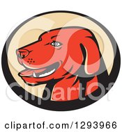 Clipart Of A Retro Red Labrador Retriever Head In A Black And Tan Oval Royalty Free Vector Illustration
