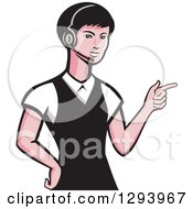 Clipart Of A Retro White Female Call Center Worker Pointing And Wearing A Headset Royalty Free Vector Illustration