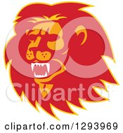 Clipart Of A Retro Red Orange And Yellow Roaring Lion Head Royalty Free Vector Illustration
