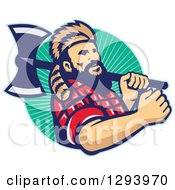 Retro Lumberjack In Plaid And A Raccoon Hat Holding An Axe Over His Shoulder In A Circle Of Rays