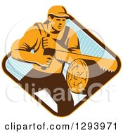 Retro Lumberjack Logger Man Using A Crosscut Saw In A Yellow Brown White And Blue Sunny Diamond