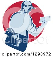 Clipart Of A Retro Blue Mailman Holding An Envelope In A Red Circle Royalty Free Vector Illustration