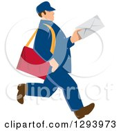 Clipart Of A Retro Blue Mailman Holding An Envelope And Walking Royalty Free Vector Illustration